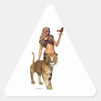 Sticker Triangulaire Fille de lion