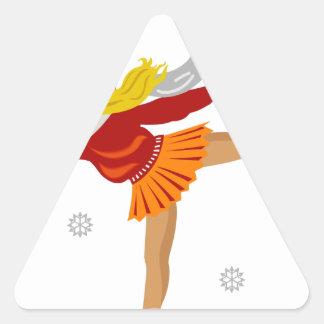 Sticker Triangulaire Fille de patinage de glace dans la neige