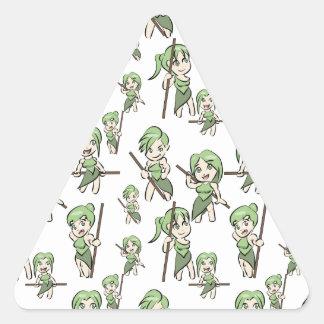 Sticker Triangulaire filles amazoniennes de chibi