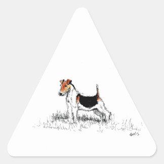 Sticker Triangulaire Fox Terrier se tenant fier
