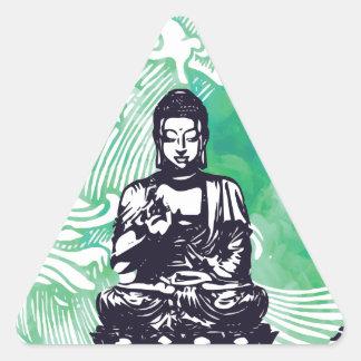 Sticker Triangulaire Fumée d'émeraude de vague de Bouddha d'ouragan