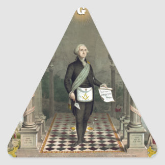 Sticker Triangulaire George Washington en tant que franc-maçon