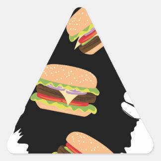 Sticker Triangulaire Grand hamburger savoureux et Hands3