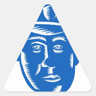 Sticker Triangulaire Gravure sur bois en tête de policier