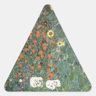 Sticker Triangulaire Gustav Klimt - fleurs de tournesols de jardin de