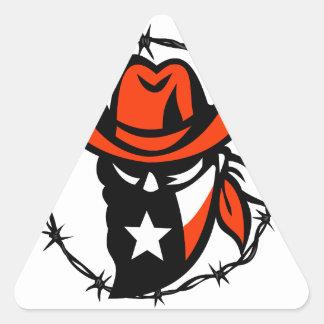 Sticker Triangulaire Icône de fil de Barb de drapeau du Texas proscrite