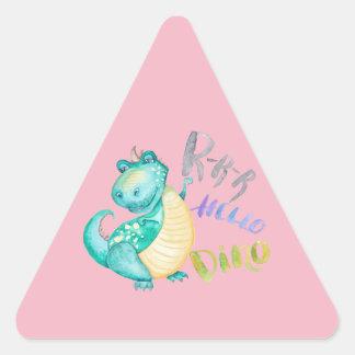 Sticker Triangulaire Illustration de dinosaure