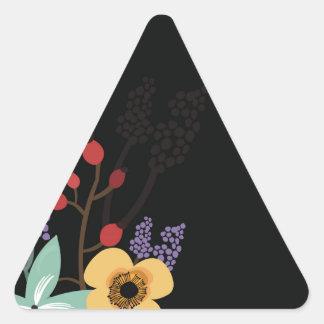Sticker Triangulaire Illustration florale sur l'arrière - plan noir