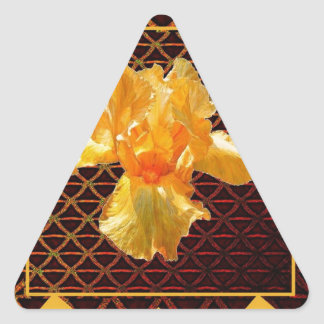 STICKER TRIANGULAIRE IRIS BARBU D'OR DE MOTIF DE DIAMANT D'ART DE BROWN
