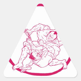 Sticker Triangulaire Jui samouraï Jitsu combattant le dessin d'Enso