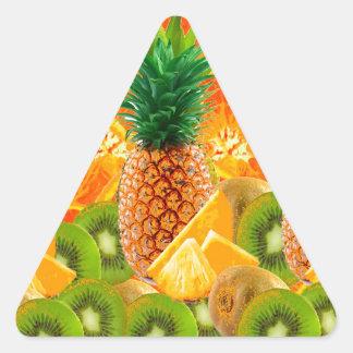 Sticker Triangulaire KIWI HAWAÏEN de TRANCHES d'ANANAS tropical et
