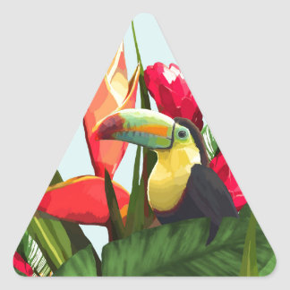 Sticker Triangulaire La banane tropicale de toucan part du bouquet
