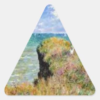 Sticker Triangulaire La falaise de Pourville de Claude Monet