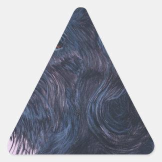 Sticker Triangulaire Labradoodle noir