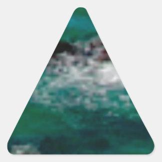 Sticker Triangulaire lagune avec des roches