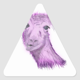 Sticker Triangulaire Lama snob rosâtre