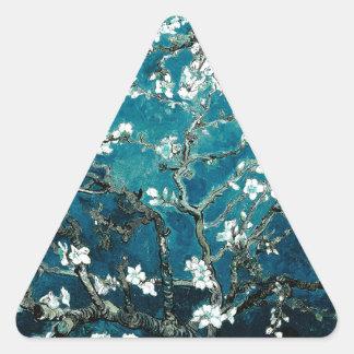 Sticker Triangulaire L'amande de Vincent van Gogh fleurit Teal foncé
