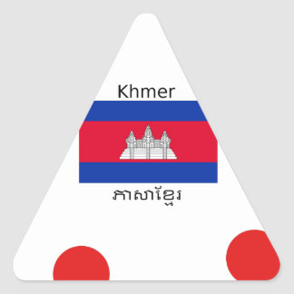 Sticker Triangulaire Langue de Khmer et conception de drapeau de