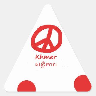 Sticker Triangulaire Langue de Khmer et conception de symbole de paix