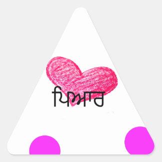Sticker Triangulaire Langue de Punjabi de conception d'amour