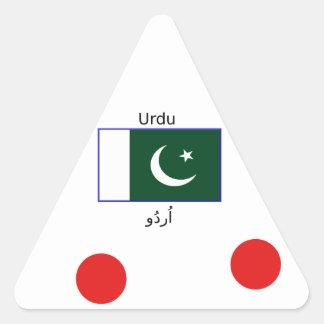 Sticker Triangulaire Langue d'Urdu et conception de drapeau du Pakistan