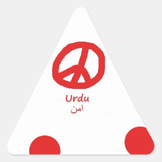 Sticker Triangulaire Langue d'Urdu et conception de symbole de paix