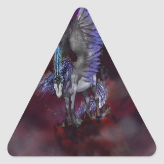 Sticker Triangulaire Licorne bleue de blanc de poney de cheval à ailes