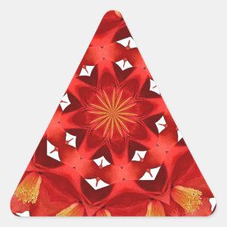 Sticker Triangulaire Mandala rouge de camélia