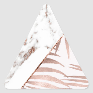 Sticker Triangulaire Marbre rose d'or et fougères tropicales