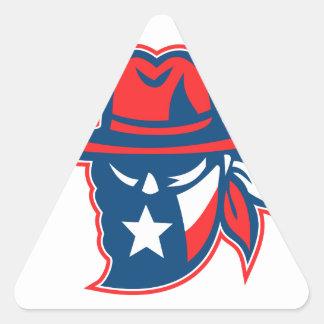 Sticker Triangulaire Mascotte de drapeau du Texas proscrite par Texan