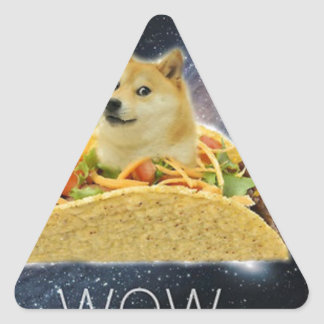 Sticker Triangulaire meme de taco de l'espace de doge