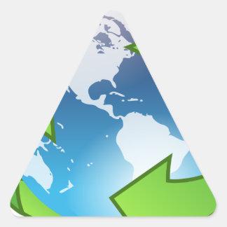 Sticker Triangulaire Monde de réutilisation amical d'Eco
