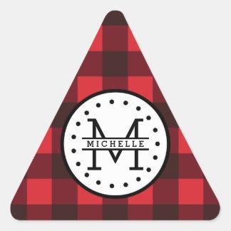 Sticker Triangulaire Monogramme rouge de nom de bûcheron de plaid de