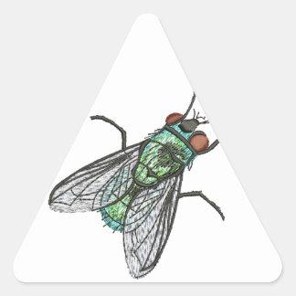 Sticker Triangulaire mouche verte - imitation de broderie
