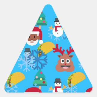 Sticker Triangulaire Noël noir de taco de père Noël