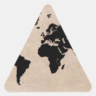 Sticker Triangulaire noir de carte du monde