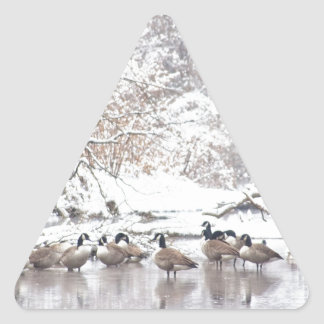 Sticker Triangulaire Oies dans la neige
