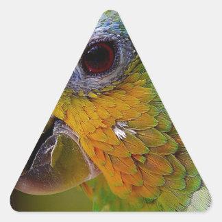 Sticker Triangulaire Oiseau exotique de vert d'oiseau d'animaux