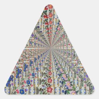 Sticker Triangulaire Oiseaux et fleurs de motif de broderie