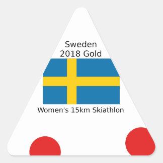 Sticker Triangulaire Or 2018 de la Suède - 15km Skiathlon des femmes