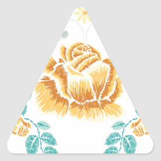 Sticker Triangulaire Ornement de rose jaune de broderie