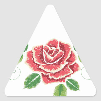 Sticker Triangulaire Ornement de rose rouge de broderie