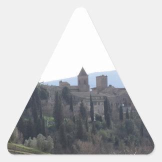 Sticker Triangulaire Panorama du village de Certaldo, province de