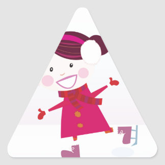Sticker Triangulaire Patinage de glace peu de rouge d'enfant
