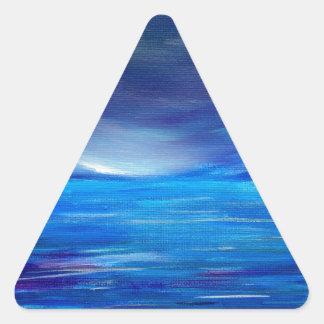 Sticker Triangulaire Paysage marin abstrait de bleu et de pourpre
