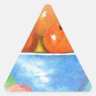 Sticker Triangulaire Pêches dans une cuvette bleue