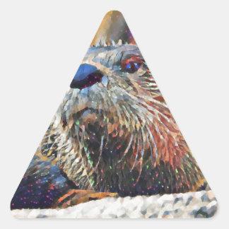 Sticker Triangulaire Peinture à l'huile de Digitals de loutre de