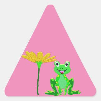 Sticker Triangulaire petite grenouille et fleur jaune