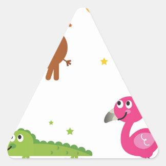 Sticker Triangulaire Petits animaux mignons sur le blanc/T-shirts