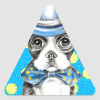 Sticker Triangulaire Point de polka de Boston Terrier